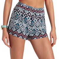STACKED HIGH-WAISTED TRIBAL PRINT SHORTS