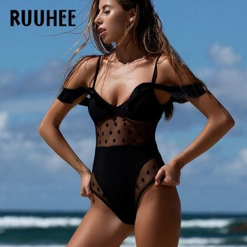 RUUHEE Swimwear Women  Bodysuit Sexy Mesh Bathing Suit Swimming Suit Monokini Maillot De Bain Bikini