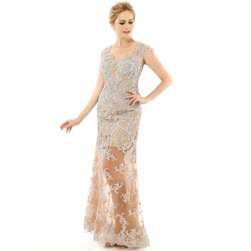 Gown Mermaid Applique Lace Floor length Long See Through Evening Dresses