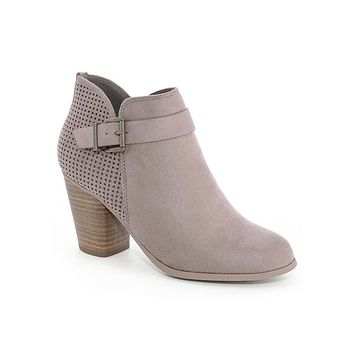 Gray Taupe Charice Perforated Buckle Booties