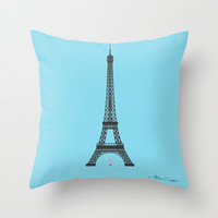 Eiffel Tower - First Kiss Throw Pillow by Alain Louis Soyez