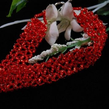 Red Rocaille Bead Bracelet