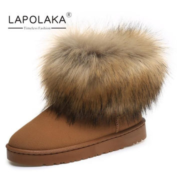 LapoLaka Keep Warm Sexy Snow Boots Women Fashion Thick Fox Fur Flat Heels Winter Shoes Woman Ankle Boots