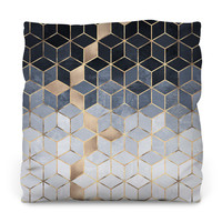 Soft Blue Gradient Cubes Outdoor Throw Pillow