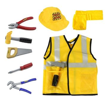 Construction Worker Costume Role Play Kit Set