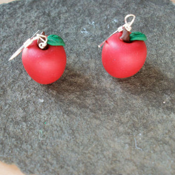 A is for Apple Earrings by moonknightjewels on Etsy