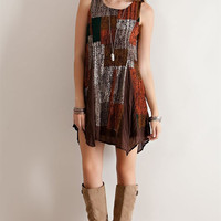 Multi-Color Pattern Broomstick Dress - Brown Combo