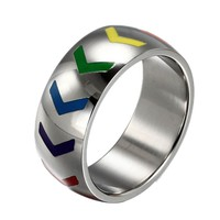 new Fashion Arrows Rainbow Rings For Women Men Stainless Steel Gay And Lesbian Pride Wedding Party Ring Jewelry