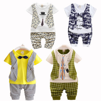 Baby Boy Clothing Set Toddler Boys Clothing Infant Vest Shorts Pants