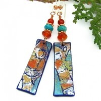 Boho Klimt Earrings, Lightweight Polymer Clay Handmade Gemstone Jewelry