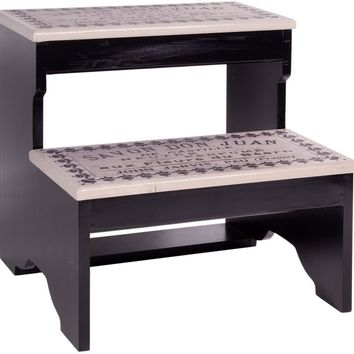 Black and White French Inspired  2 Step Decorative Wood Step Stool