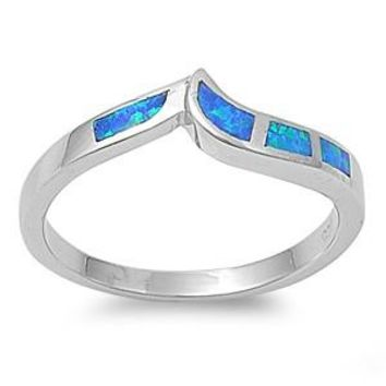 Sterling Silver Pointed Tiara 6MM Blue Lab Opal Ring