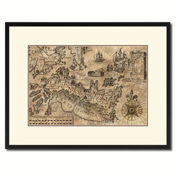 Land Vintage Antique Map Wall Art Home Decor Gift Ideas Canvas Print Custom Picture Frame