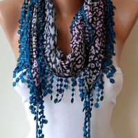 Leopard BlueLilac Scarf with Dark Blue Trim Edge by SwedishShop