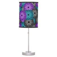 Turquoise Teal Blue Lavender Purple Grey Dahlia Table Lamp