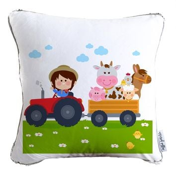 Farmer Boy Graphic Decorative Kids Pillow w/ Reversible Gold and White Sequins - COVER ONLY (Inserts Sold Separately)