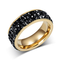 18K Gold Plated Crystal Wedding Rings For Women Jewelry Multiple Colors