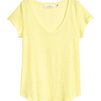 V-neck Linen Top - from H&M