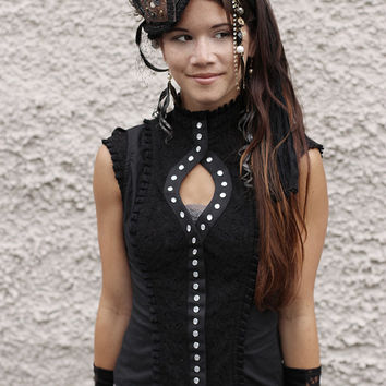 BLACK RAZZLE TOP - Steampunk Pearl Blouse - Cabaret Couture shirt - High Fashion Gothic Steam punk - Size Large