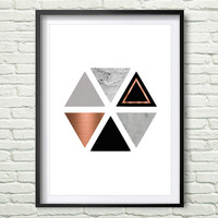 Grey and Rose Print Gray and Copper Wall Art Geometric Print Honeycomb Art Hexagon Poster Scandinavian Print Gray Copper Home Decor *11*