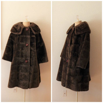 Vintage 50s Brown Faux Fur A Line Coat Womens Swing Rockabilly Jacket