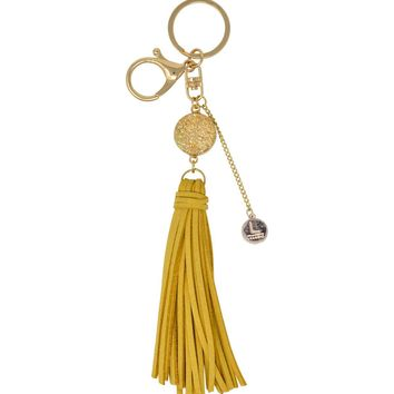 Laconic Style Coruscate Druzy Stone with Suede Tassel Keychain – Gold