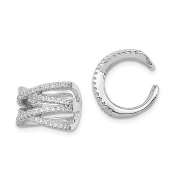 925 Sterling Silver Rhodium-plated Cubic Zirconia Double-X Ear Cuff