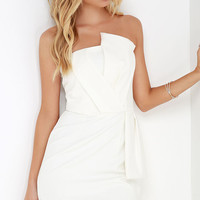 Sweet and Sassy Ivory Strapless Dress
