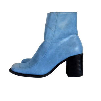 90s Boot Chunky Heel Boot Block Heel Boot Powder Blue Boot Chunky Women Boot Square Toe Boot 90s Rave Boot Vegan Boot Ankle Boot