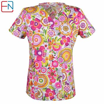 15 designs in Hennar women medical scrub top with V neck   100% cotton medical uniforms, surgical scrubs top