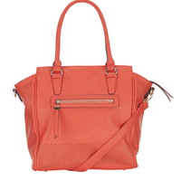 perforated bottom and side zipper satchel