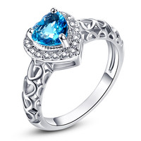 JROSE Wedding Band Jewelry Love Engagement Rings for Women Heart London Blue Topaz White CZ Diamond 18K White Gold Fashion Ring