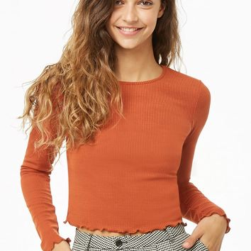 Lettuce-Edge Ribbed Crop Top