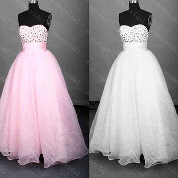 Pink Prom Dresses Beaded Long Evening Dress Sweetheart Crystals Sequin Party Dress Corset Bridesmaid Dress Shiny Organza White Women Formal
