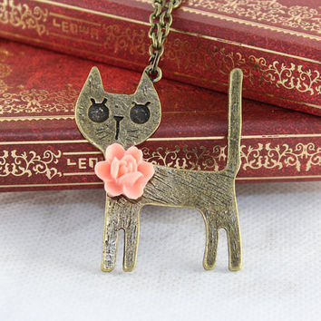 Pretty cat and pink resin rose flower necklace antique bronze pendant vintage style
