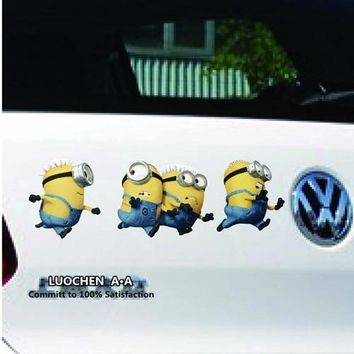 Car Stickers Running Minions Creative Cartoon Decals Colorful Waterproof Transparent Background Auto Tuning Styling 26*8cm D11