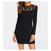 Black Lace Neckline Long Sleeve Bodycon Dress