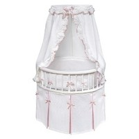 Badger Basket White Elegance Round Bassinet with Bedding - White/Pink