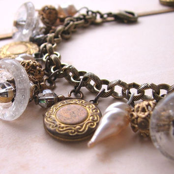 BELLS holiday jewelry charm bracelet with vintage by shadowjewels