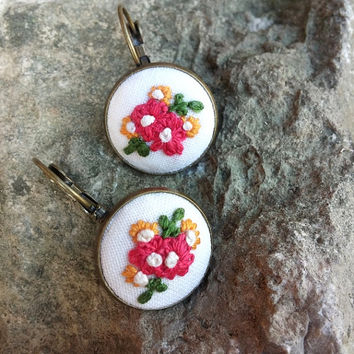 Colorful Dangle Earrings, Floral Earrings in Bronze Settings with French Clips, Embroidered Earrings, Romantic Jewelry, Gift for Her