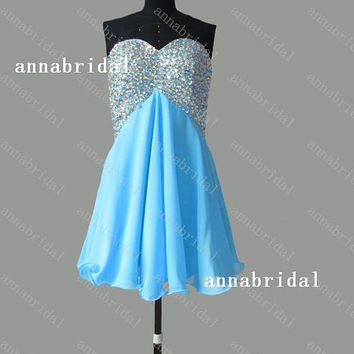Light Sky Blue Prom Dresses Sweetheart Chiffon Short Silver Crystals Beaded Sequins Homecoming Cheap Bridal Party Gowns Cocktail Corset New