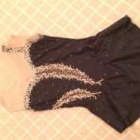 Beautiful Black Dress With Gold Stones - MySkatingMall.com - Buy and Sell New and Gently Used Figure Skating Dresses, Skates, and Accessories