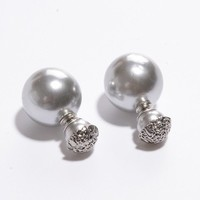 Pair of Shining Pearl Embellished Earrings For Women