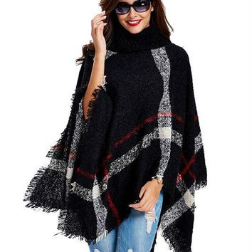 STYLEDOME Women's Wool Plaid Cardigan Turtleneck Cape Batwing Sleeve Knit Poncho Sweater