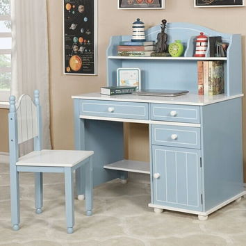 3 pc Deana collection blue and white finish wood desk chair and hutch