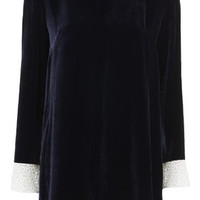 Lace Collar Velvet Shift Dress by Boutique - Navy Blue