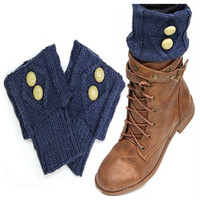 Cute Dual Button Vintage Navy Blue Boot Toppers, Boot Cuffs, Women's Accessories