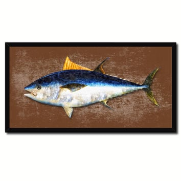 Bluefin Tuna Fish Brown Canvas Print Picture Frame Gifts Home Decor Nautical Wall Art