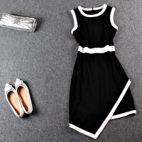 Casual Sleeveless Asymmetrical Mini Dress