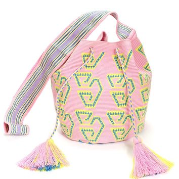 Kalepusuya Large Wayuu Crossbody Bag - Baby Pink